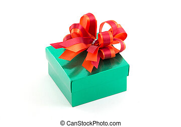Green gift box with red satin bow isolated on white background
