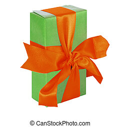Green gift box with red satin ribbon bow