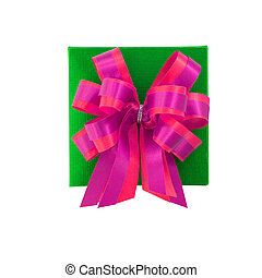 Green gift box with satin bow. isolated on white background with clipping path