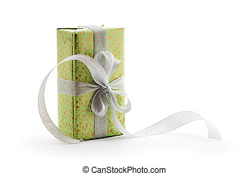green gift box with silver ribbon