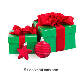 green gift boxes and christmas red decorations
