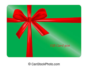 Green gift card with red ribbon. ve