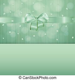 green gift card with ribbon and confetti