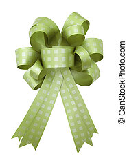 Green gift ribbon and bow Isolated on white background