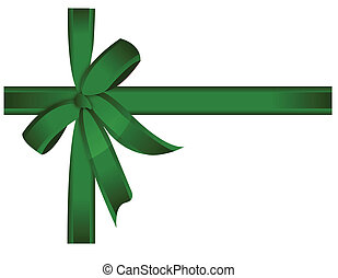 Green gift, ribbon, bow / vector