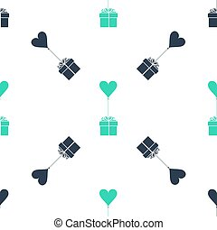 Green Gift with balloon in shape of heart icon isolated seamless pattern on white background. Valentine's day, wedding, birthday card. Vector