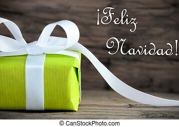 Green Gift with Feliz Navidad - Green Present with the...