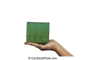 Green gift with isolated on white background