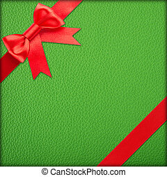 Green gift with red bow