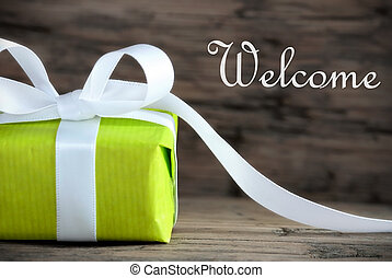 Green Gift with the Word Welcome