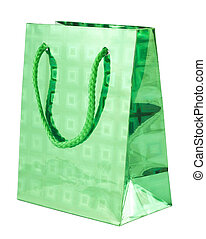 Green giftbag - Green gift bag isolated on white background