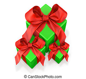 green gifts with red ribbon