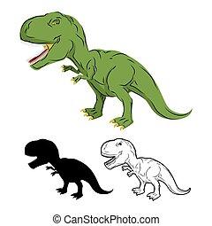 Green gigantic Dinosaur Tyrannosaurus Rex. Prehistoric...