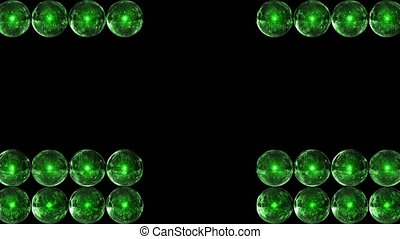 Green glass balls are collected in rows. Background from spheres.
