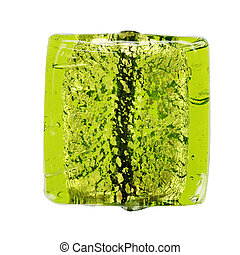 Green glass bead - Isolated over white
