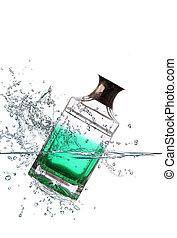 glass bottle falling in water