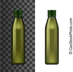 Green glass bottle, olive oil realistic 3d mockup