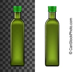 Green glass bottle, realistic olive oil