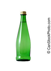 Green glass bottle with water