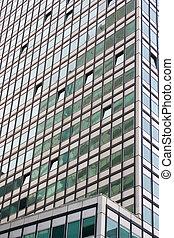 Green glass building.