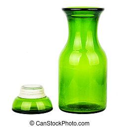 Green glass chemical bottle