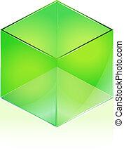 Glass cube - Green Glass cube