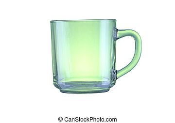 Green glass isolated on a white background.