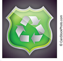 Green Glass recycle shield