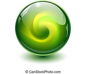 Green glass sphere