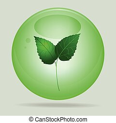 Green glass sphere with leafs