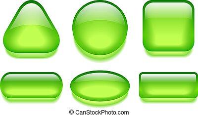 Green glass web buttons