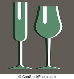Green glasses flat illustration design