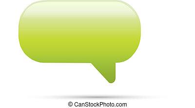 Green glassy empty speech bubble