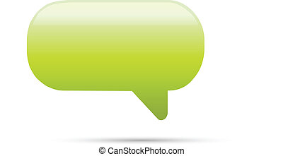 Green glassy empty speech bubble web button