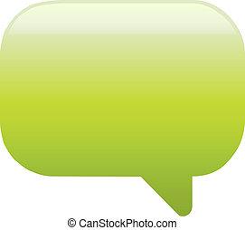 Green glassy empty speech bubble web button icon on white