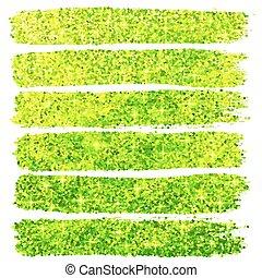Green glitter brush strokes set isolated at white background...