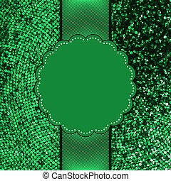 Green glitter sparkles snow flakes. EPS 8