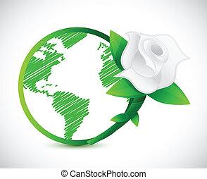 green globe and a rose. illustration design