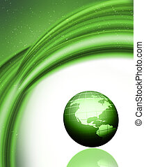 Green globe background - Abstract green background with 3D ...