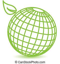 green globe - abstract illustration, schematic green globe...
