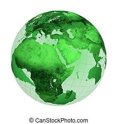 Green Globe - Green globe illustration isolated on white...
