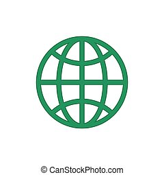 Green globe eco icon vector isolated on white background