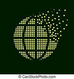green globe flying pixel symbol