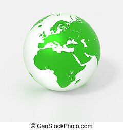 Green globe isolated on white with europe in the spotlight