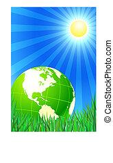 Green Globe on summer background