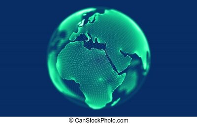 Green globe rotating on blue background. Looping animation.