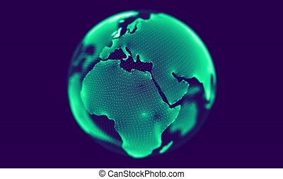 Green globe rotating on blue background. Looping animation....