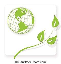green globe - Illustration, green globe and green branch on...