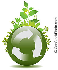 green globe with a recycle symbol - A vector green globe...