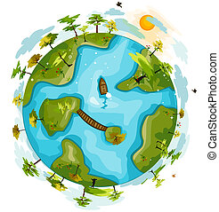 Green Globe with Clipping Path
